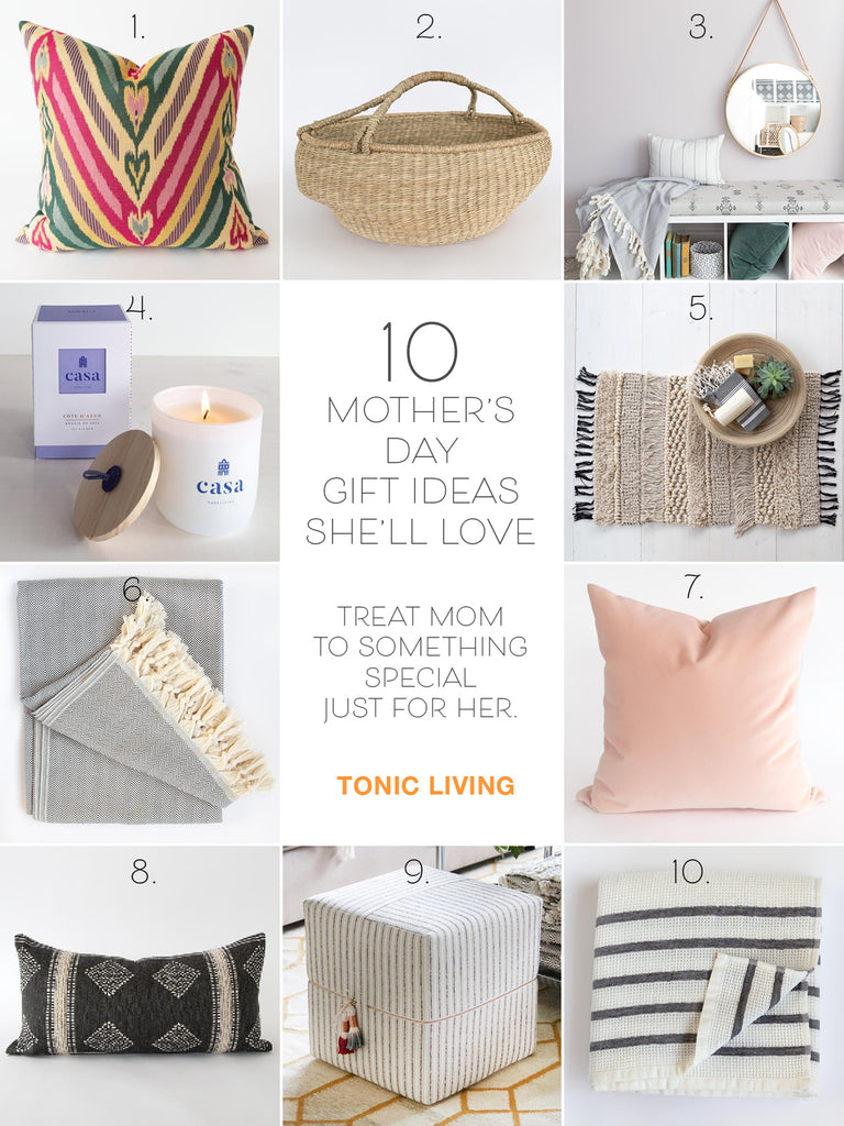 Mother's Day Gift Guide with home decor items