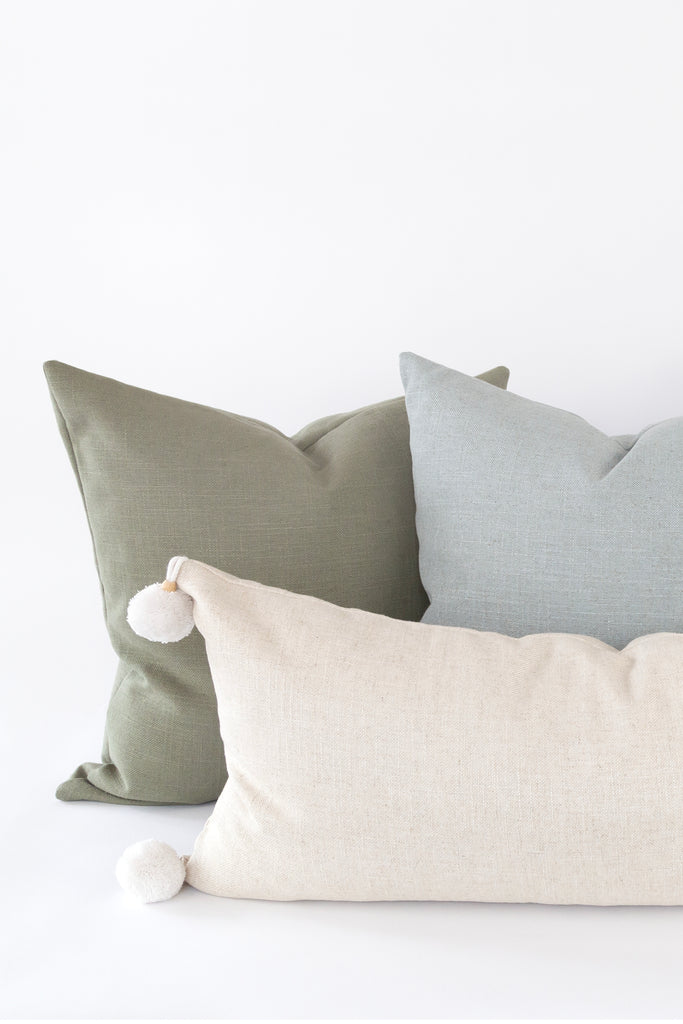 The Essentials pillow collection from Tonic Living with solid coloured and neutral pillows in linen blend fabric