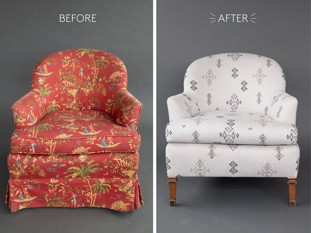 vintage accent chair makeover southwestern grey fabric
