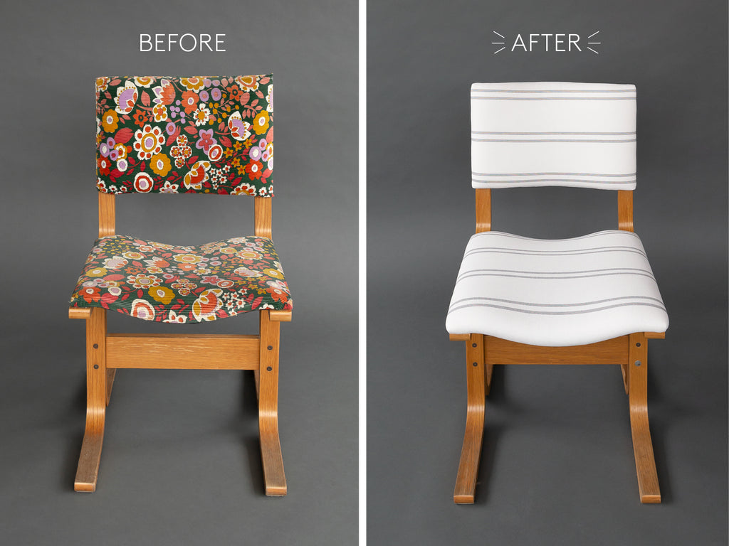 vintage bentwood chair makeover striped fabric