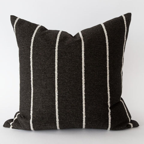 Avalon Stripe, Ebony black and white striped pillow from Tonic Living