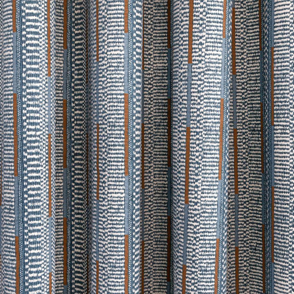Dixon Stonewash Blue, a blue, ivory and brown printed stripe from Tonic Living