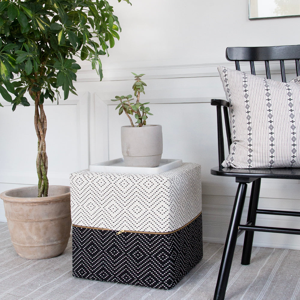 BLACK AND WHITE OTTOMAN SIDE TABLE TONIC LIVING