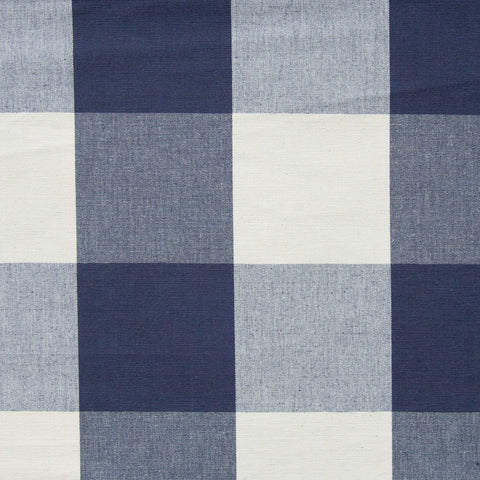 Anton Buffalo Check, Navy - A timeless, buffalo check in navy blue and natural cream - Tonic Living
