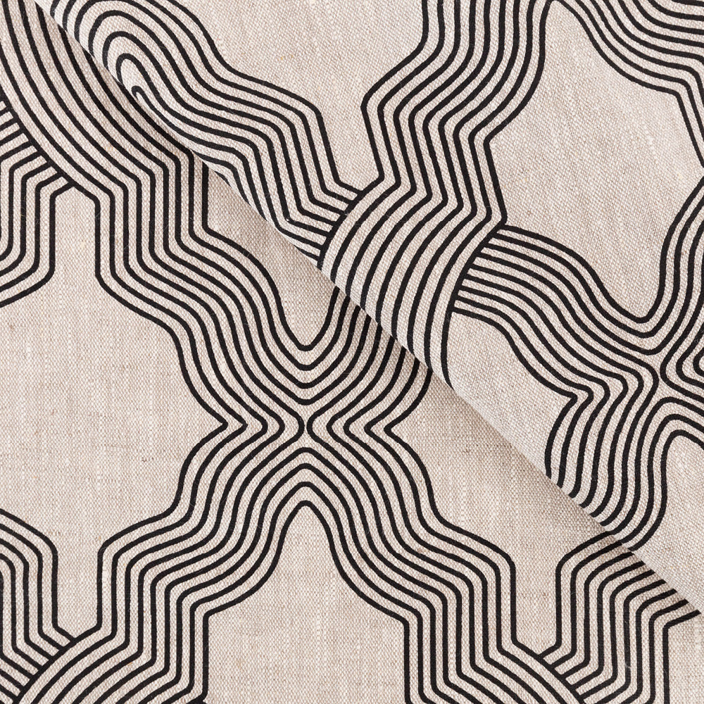 Florence, a black trellis print on a flax color linen fabric from Tonic Living