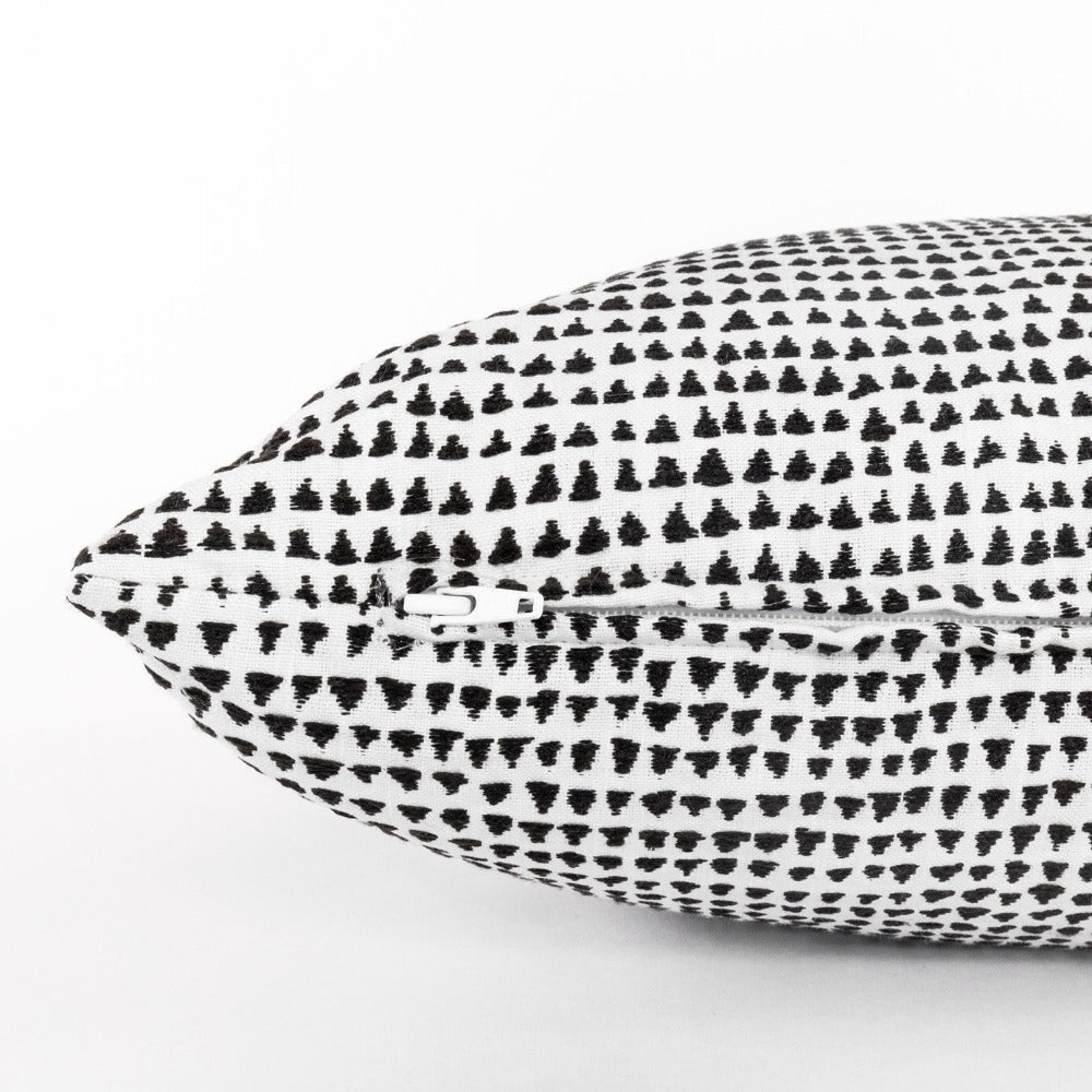 Archer, a modern black and white graphic lumbar pillow from Tonic Living