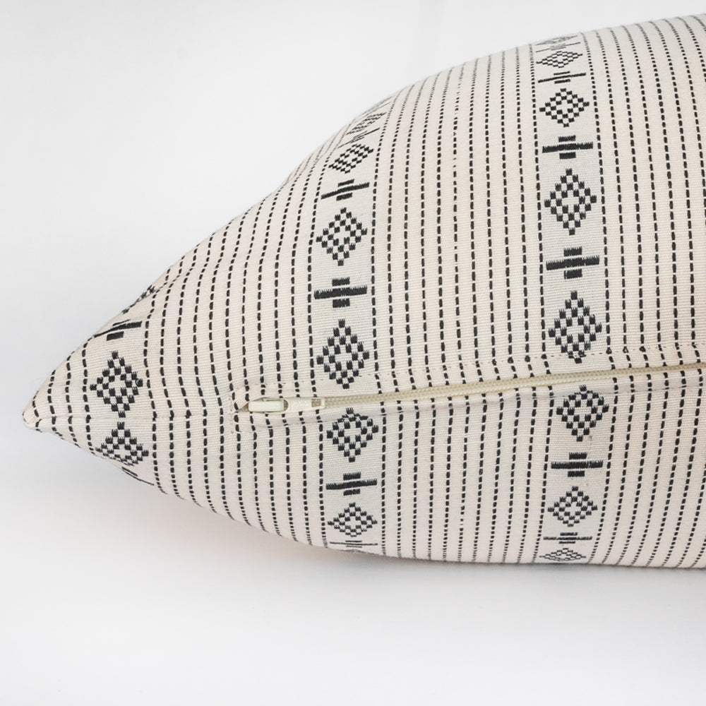 ivory and black graphic striped pillow zipper detail