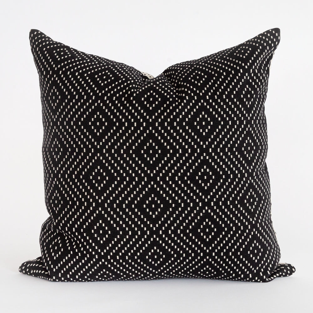 Ava reversible black and white cotton pillow