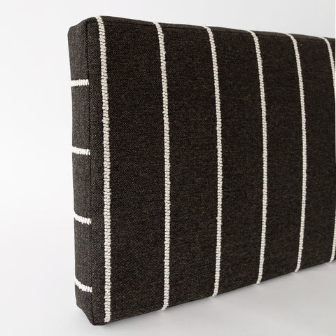 Ikea Kallax shelf hack storage bench cushion in Avalon, Ebony black and white stripe