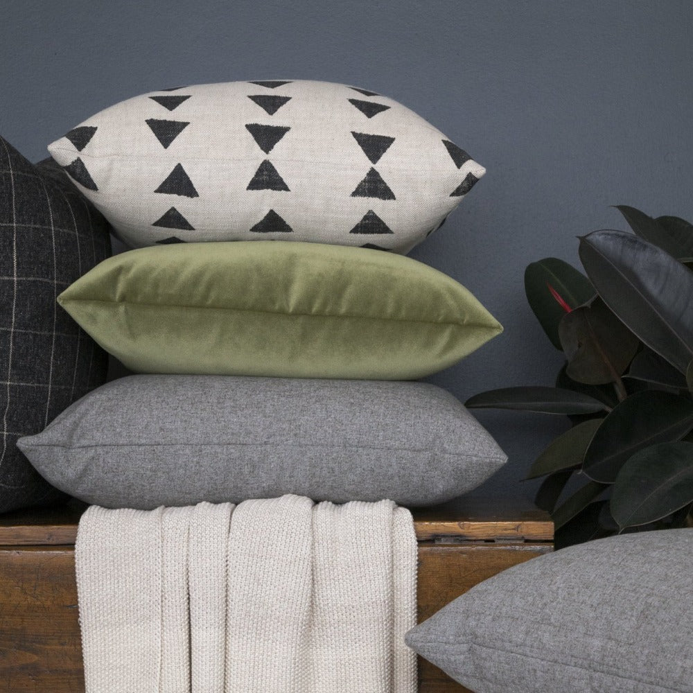 Tonic Living black, cream, green, grey pillow combination