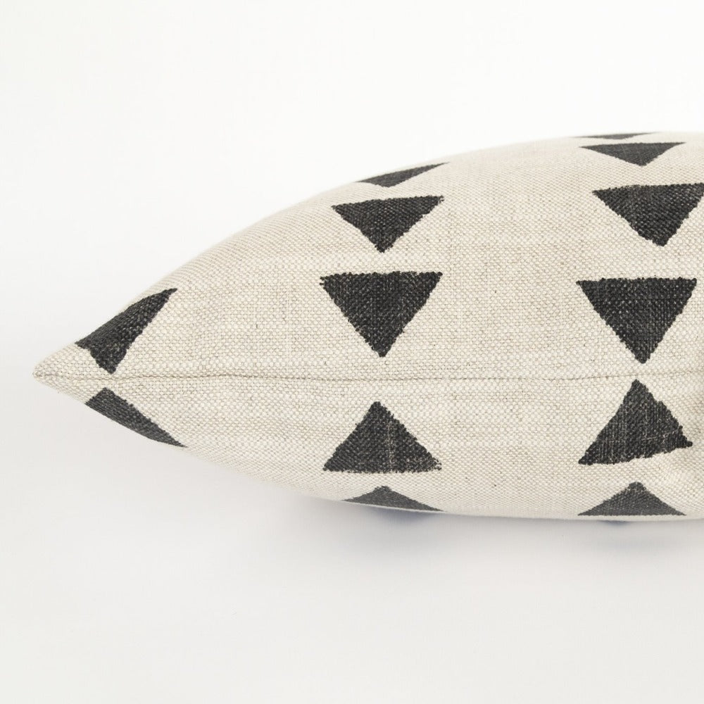 black triangle block print pillow detail