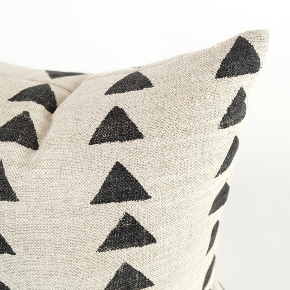 black triangle block print pillow corner detail