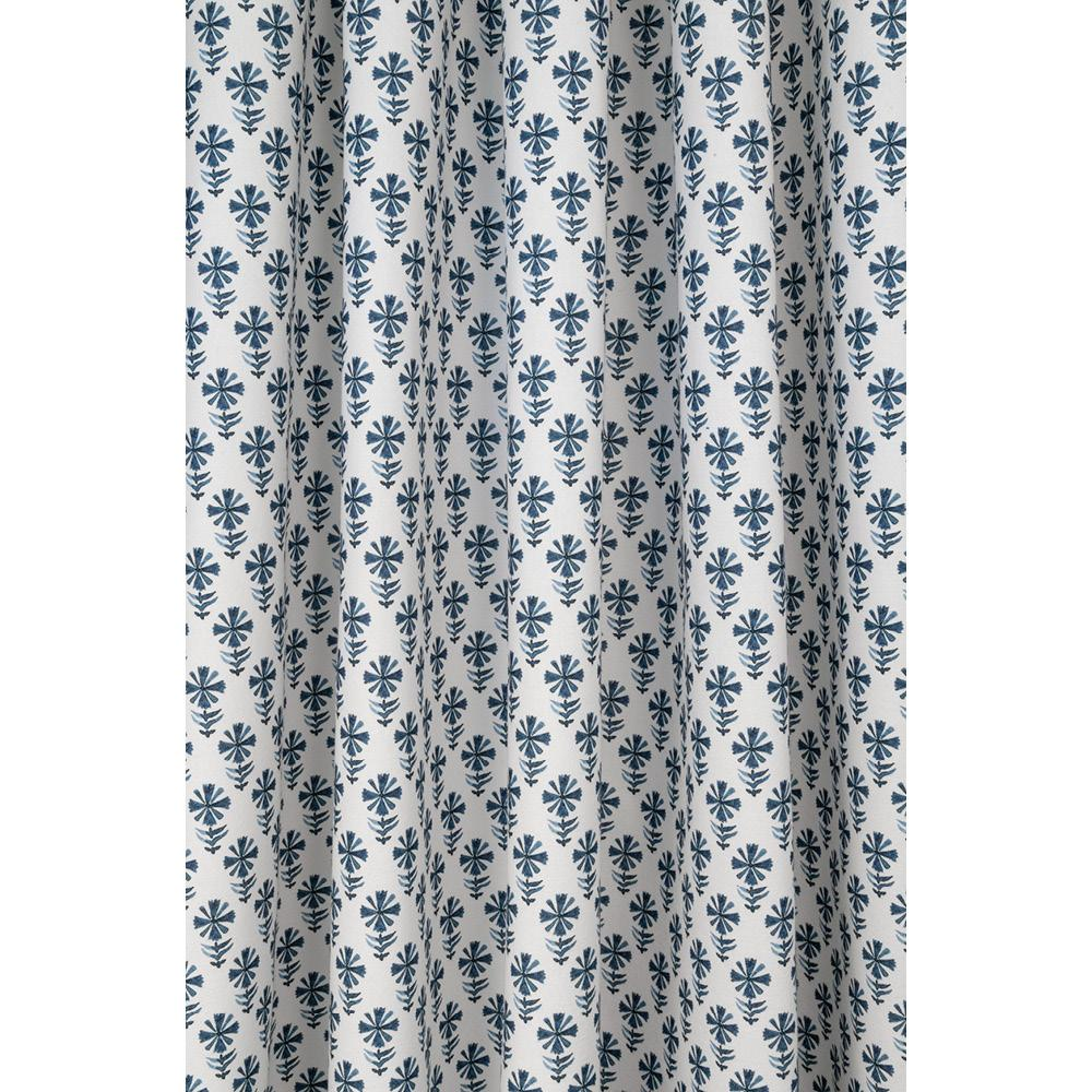 Blake Block Print Indigo, a blue on white flower print fabric from Tonic Living