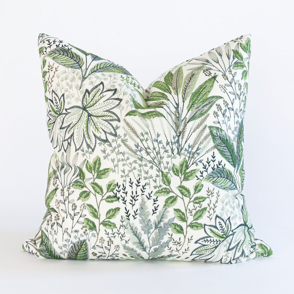 Blythe fern green embroidered floral pillow from Tonic Living