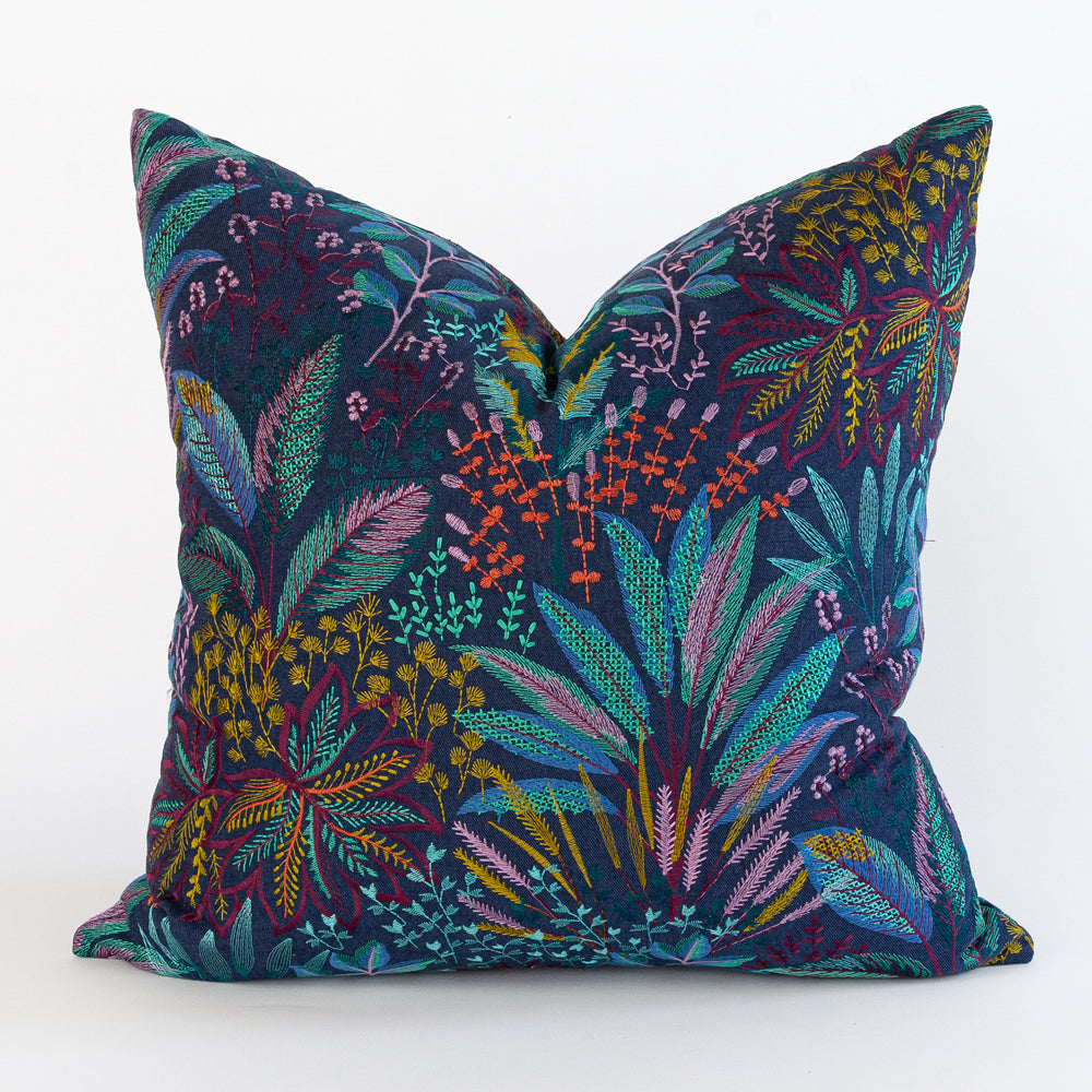 Blythe Secret Garden, a navy blue with colorful floral embroidery pillow from Tonic Living