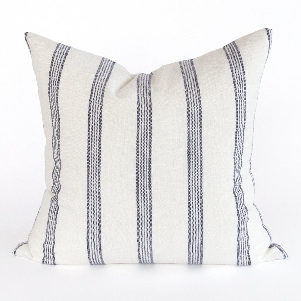 Bridgewater navy and white stripe pillow from Tonic Living