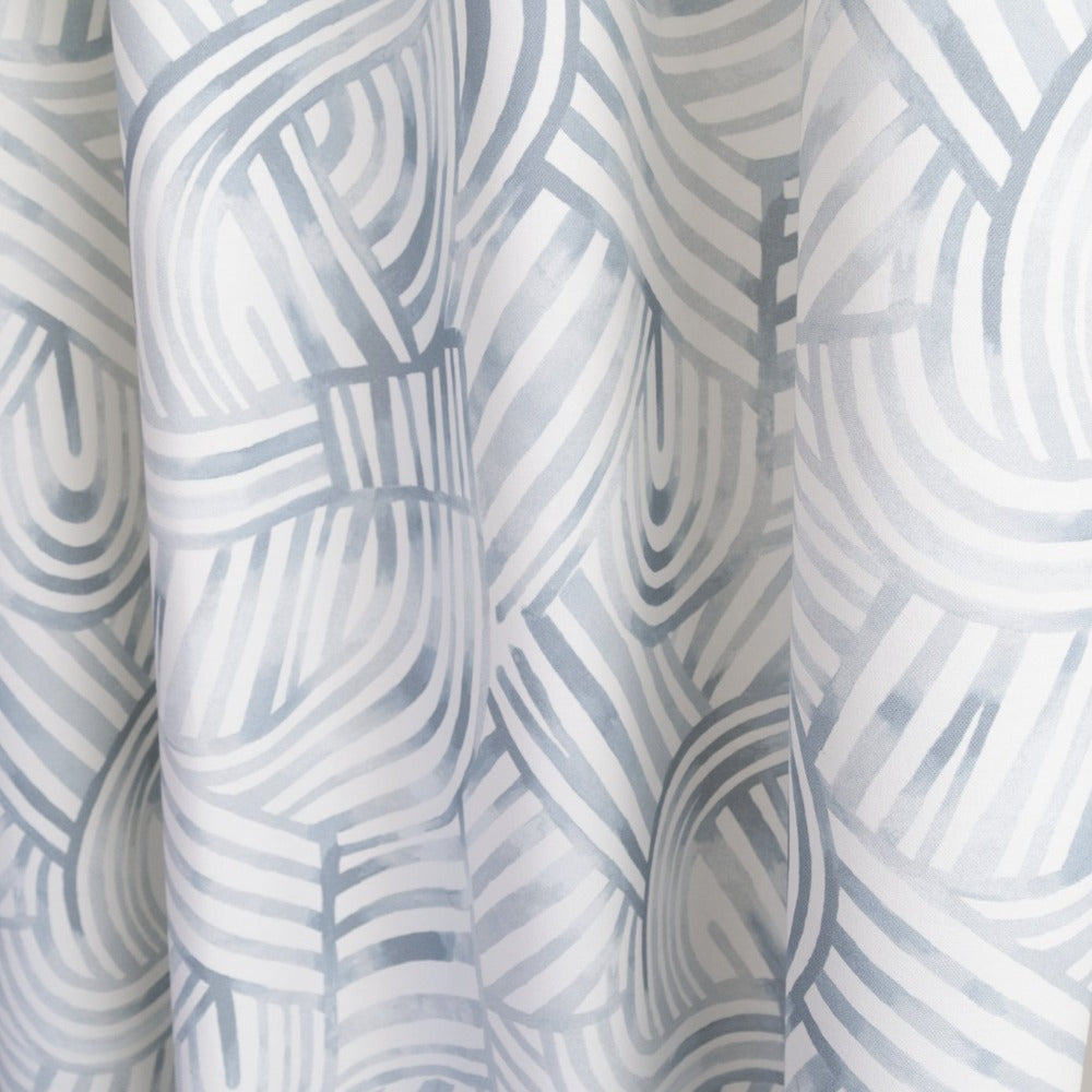 Capri Fabric, Mist, a painterly, blue swirl pattern from Tonic Living