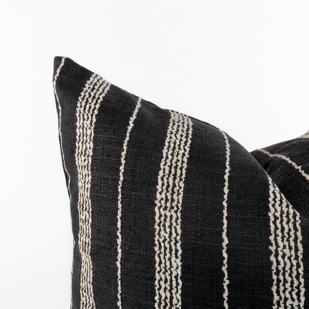 Graphic black and white stripe pillow detail