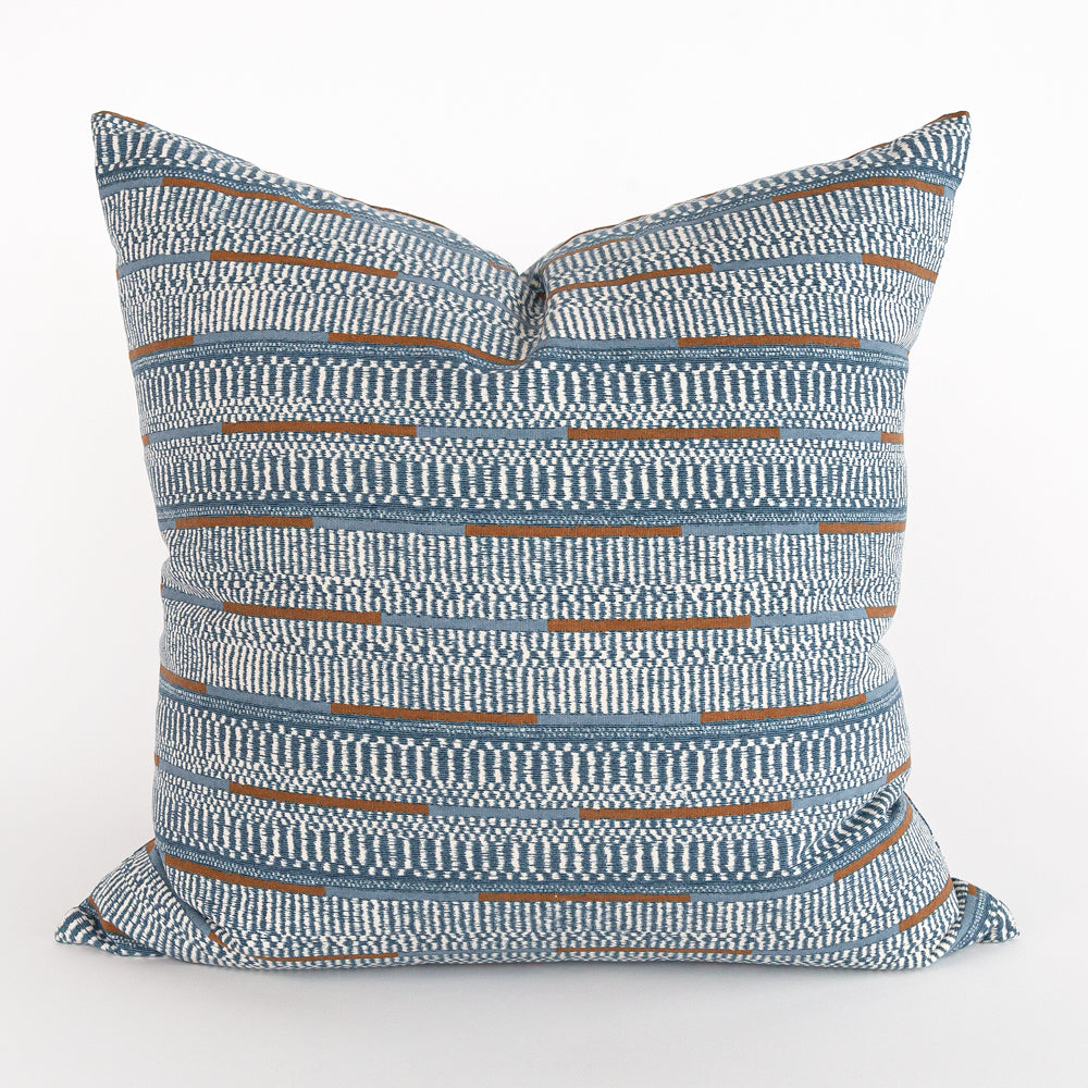 Dixon Stonewash Blue, printed ikat stripe pillow from Tonic Living