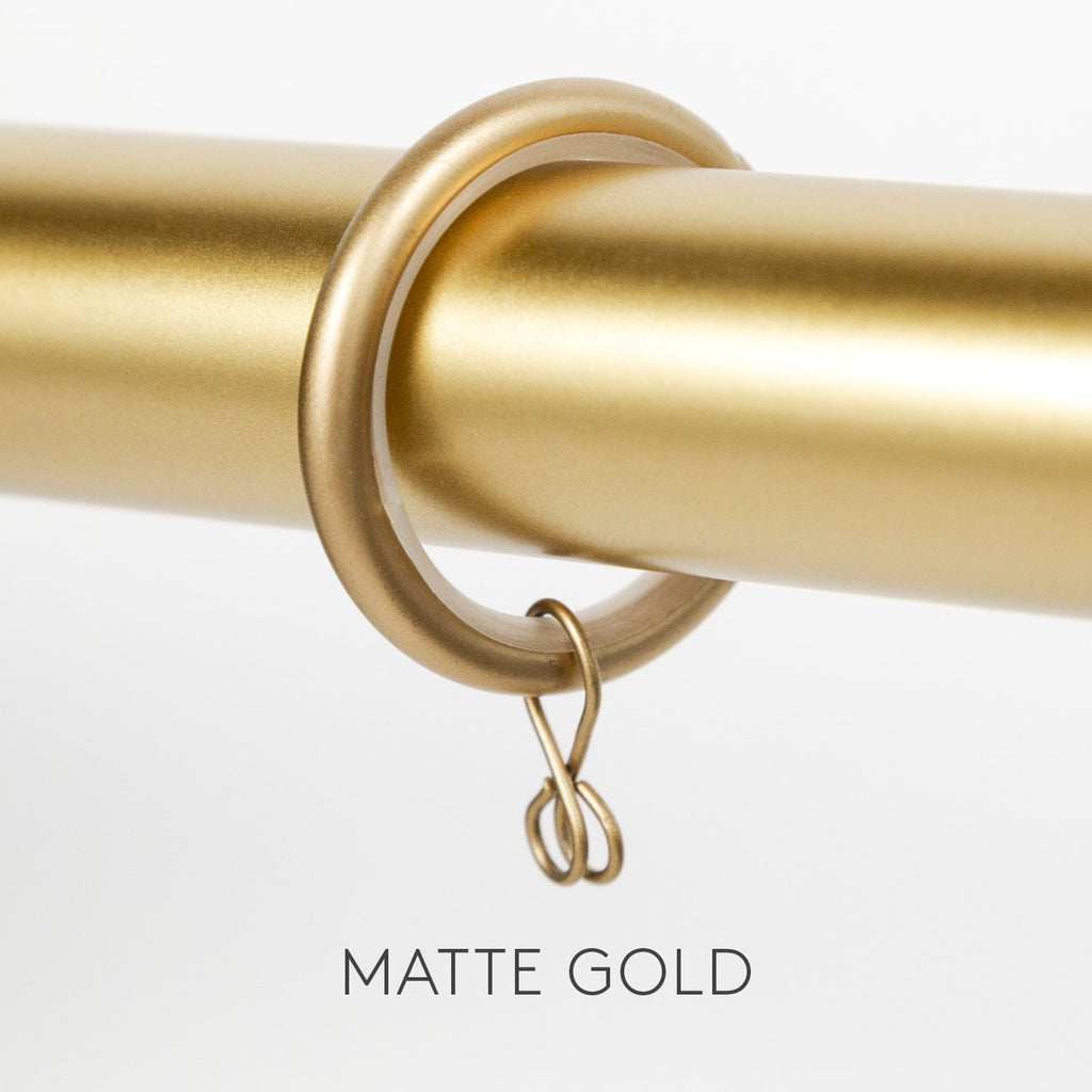 Drapery and curtain rings from Tonic Living, matte gold