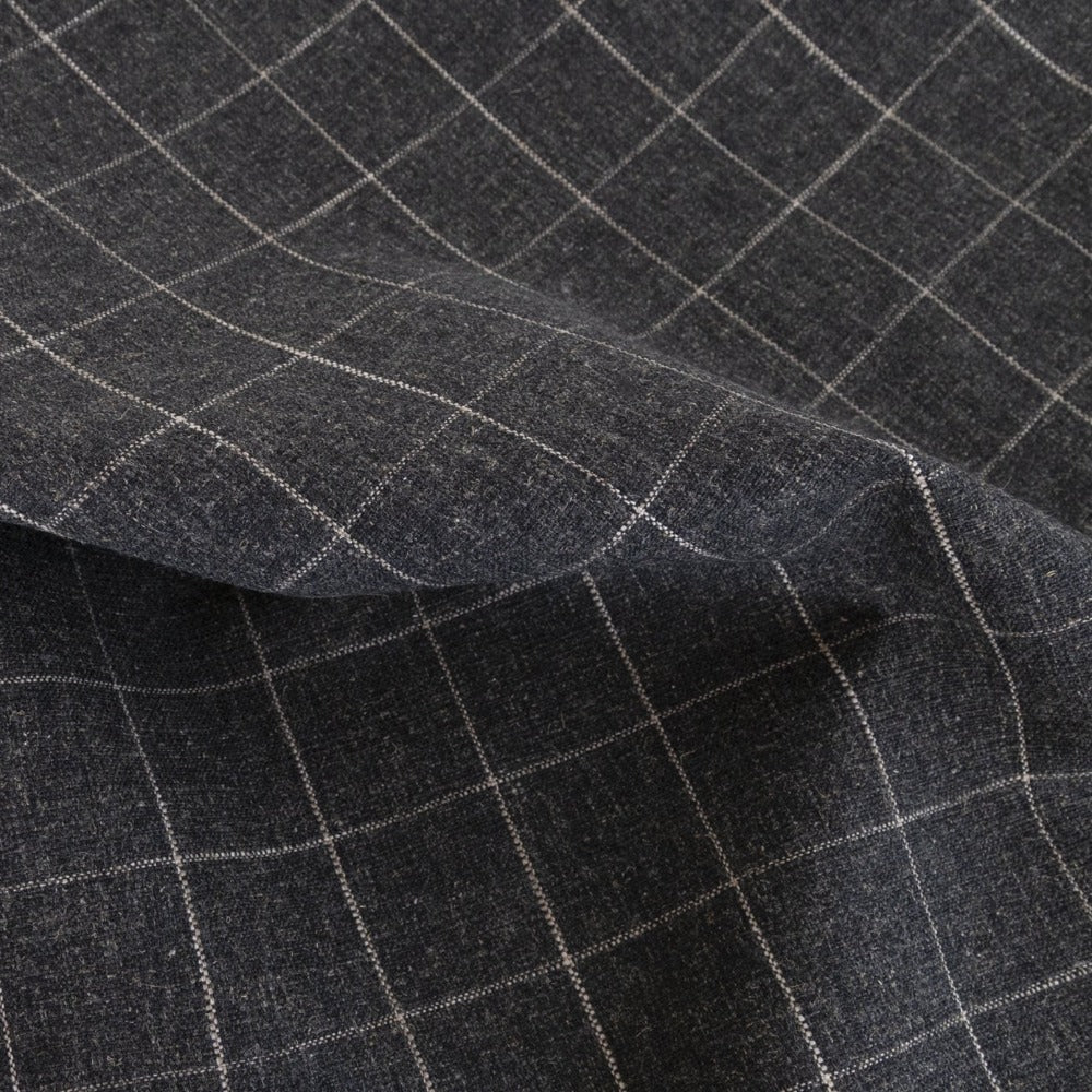 Dundee Fabric, Sable, a cream grid on dark grey ground fabric from Tonic Living