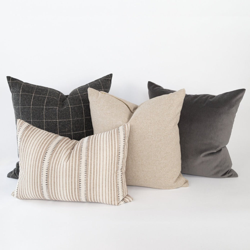 Beige and charcoal grey pillow combo from Tonic Living
