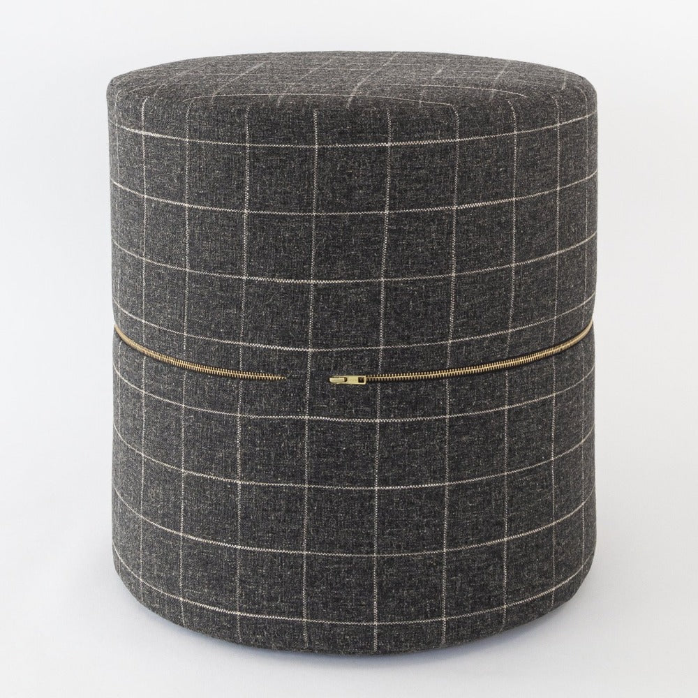 Dundee Round Ottoman, Sable, a charcoal grey with cream windowpane grid round ottoman from Tonic Living