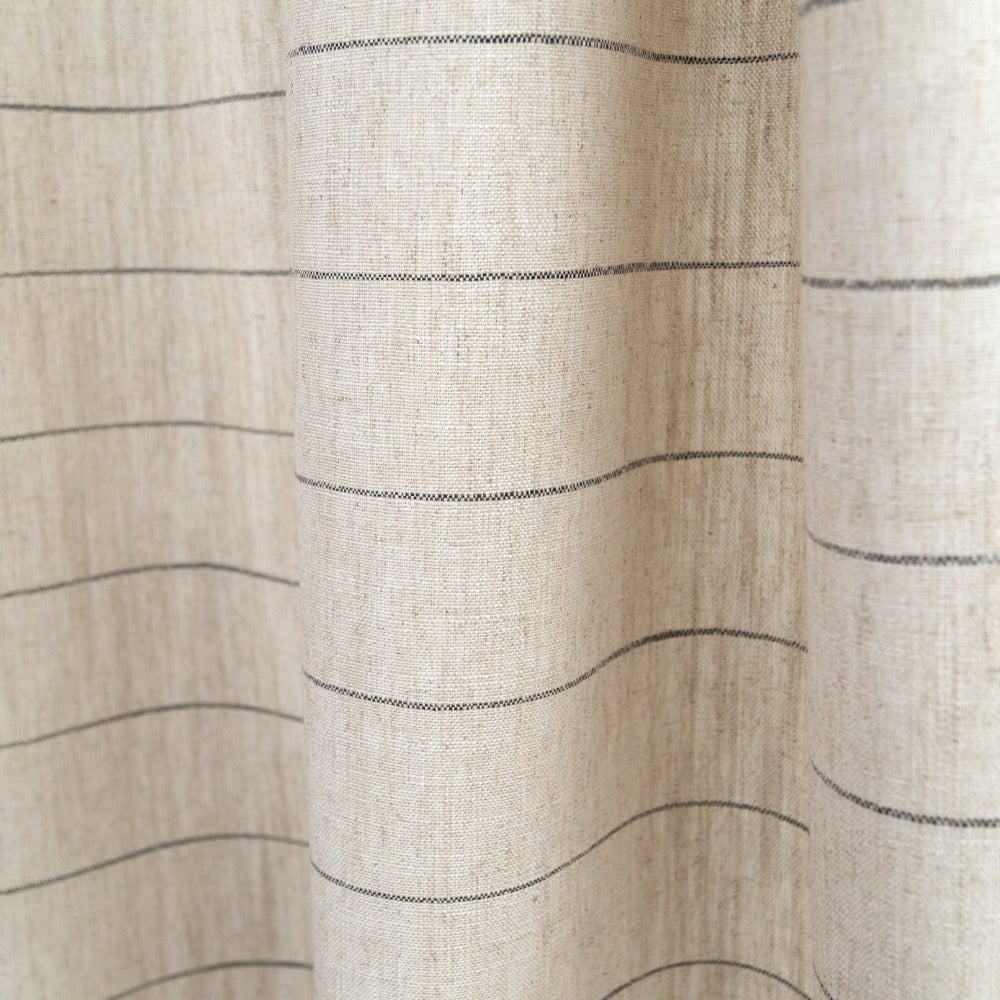 Dunrobin farmhouse grey stripe on natural beige fabric from Tonic Living