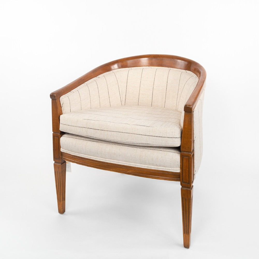 Dunrobin reupholstered chair, Burlap, a beige with black stripe ottoman from Tonic Living
