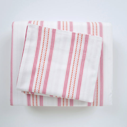 Duvet Cover Set - Ribbon Stripe Pomegranate - Tonic Living