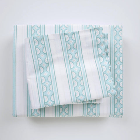 Duvet Cover Set - Teacup Stripe Jade - Tonic Living