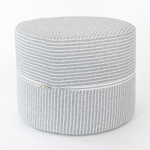 Elmira Mini Round Ottoman stool, Smoke Blue, a blue grey with cream stripe high performance fabric mini ottoman from Tonic Living