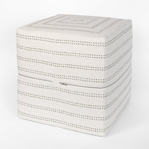 Elodie Cube Ottoman, Felt, a warm taupe stripe on cream ottoman from Tonic Living