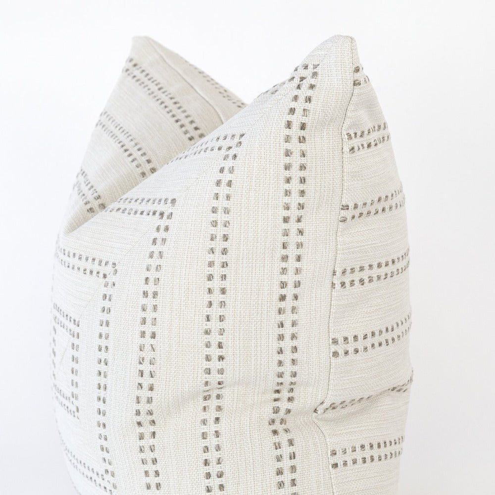 Elodie Stripe Mitered Pillow, Felt, a beige dot stripe pattern pillow from Tonic Living