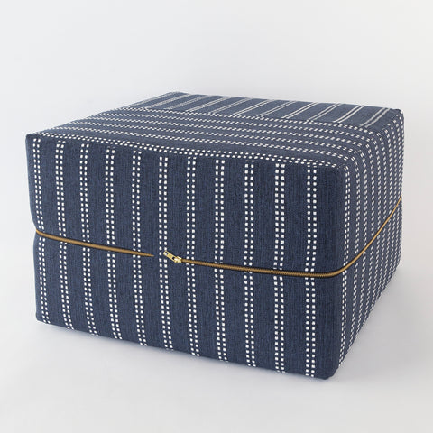 Elodie Stripe Wide Ottoman Cube, Indigo, a navy and white stripe ottoman fr