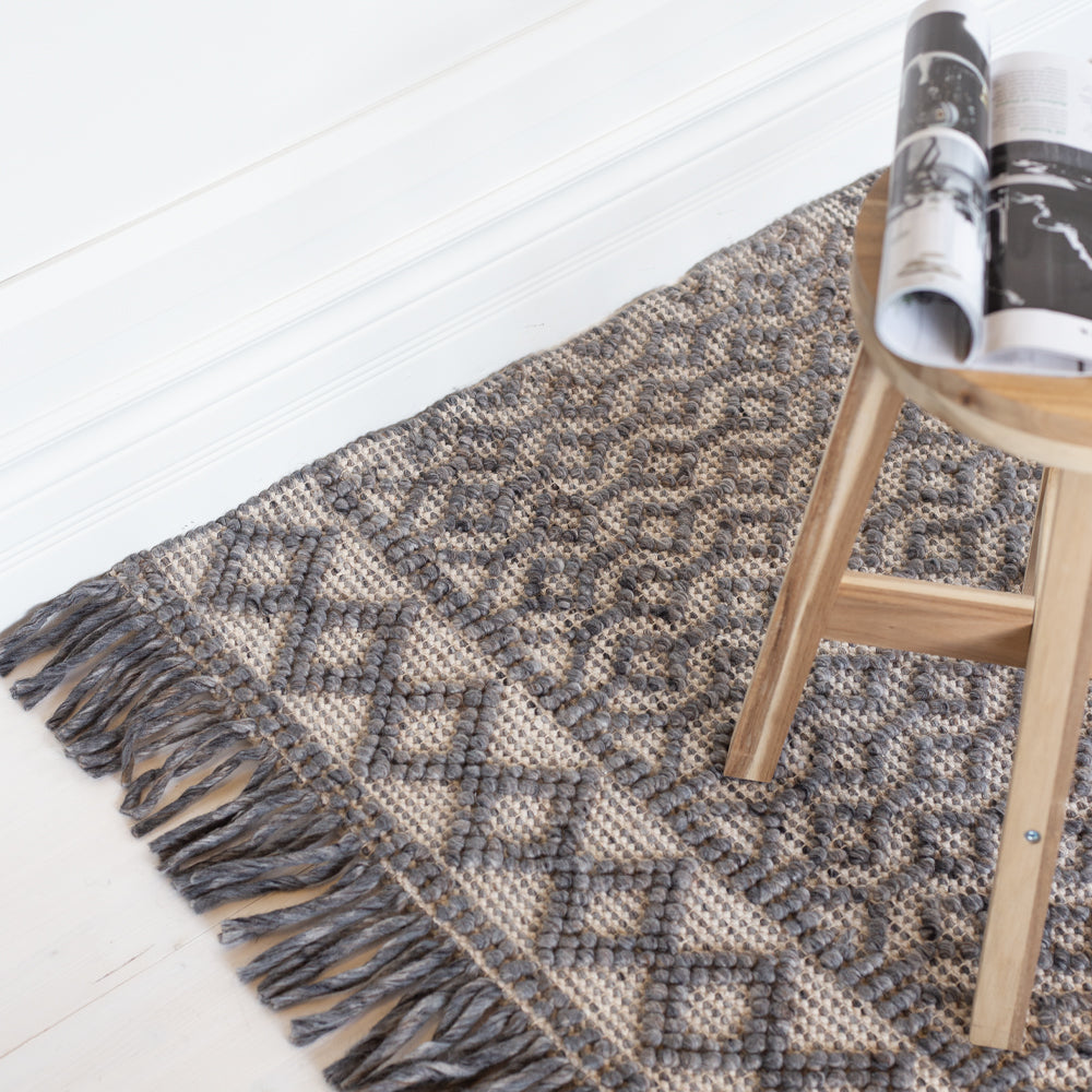 Eyre grey and taupe wool rug from Tonic Living