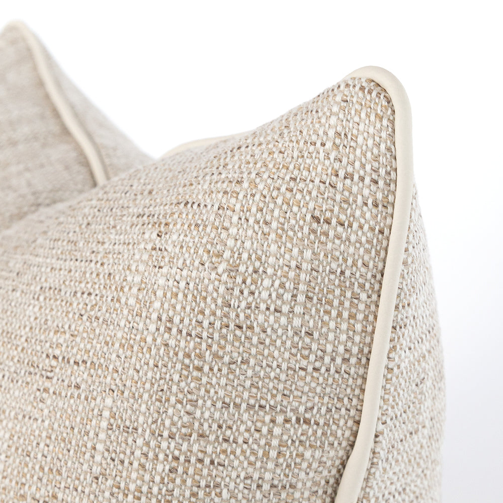 Felix Lumbar Sisal Outdoor Pillow with Faux Leather Piping from Tonic Living
