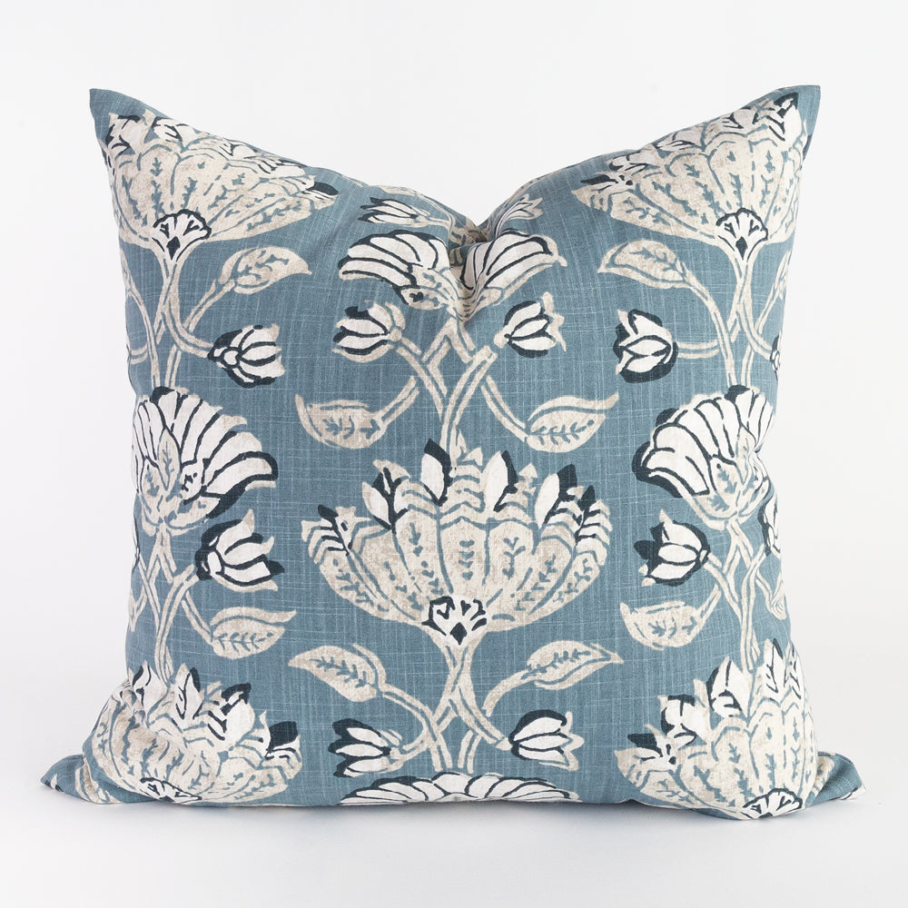 Filicia, casual blue floral cotton pillow from Tonic Living