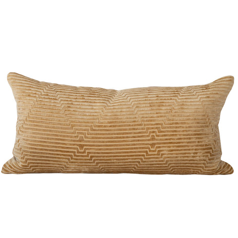 Fitzgerald, Gold Dust - This warm, gold cut velvet pillow will give a lot lux, dimensional interest to your space with a sort of Gatsby-deco vibe.