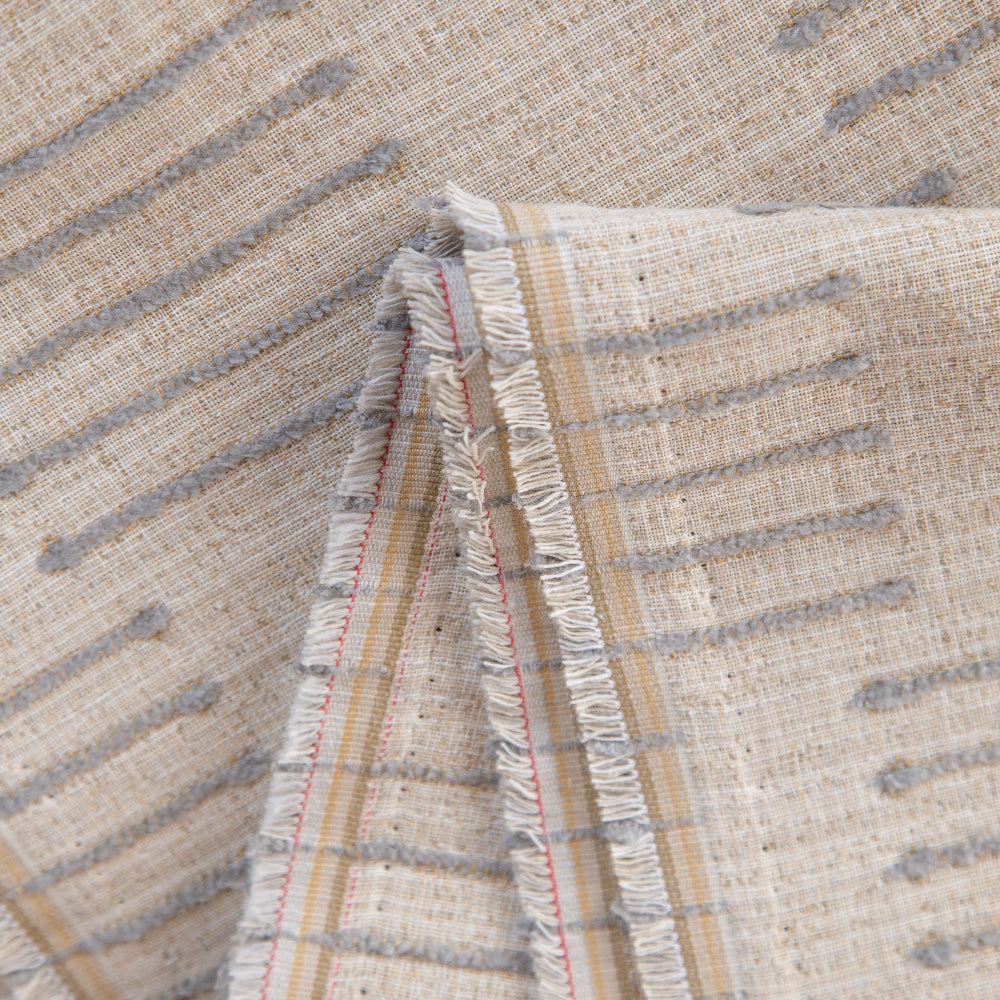 Harlow Desert Sand, a beige and grey graphic upholstery fabric from Tonic Living