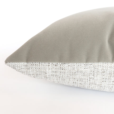 Harrison grey velvet and textured fabric outdoor Pillow from Tonic Living