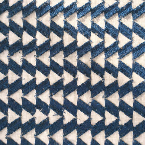 Indigo fringe benefits fabric by Genevieve Gorder at Tonic Living