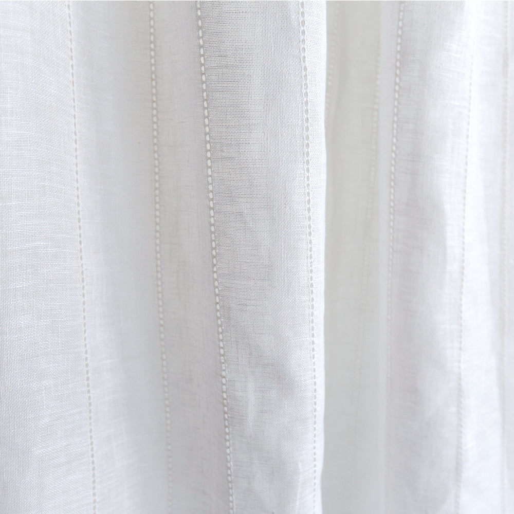 Ida Embroidered Sheer white linen blend fabric from Tonic Living