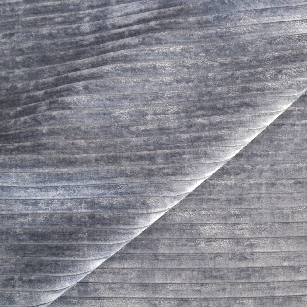 Iona Channel Velvet, Blue Smoke, a blue grey horizontal stripe plush velvet from Tonic Living