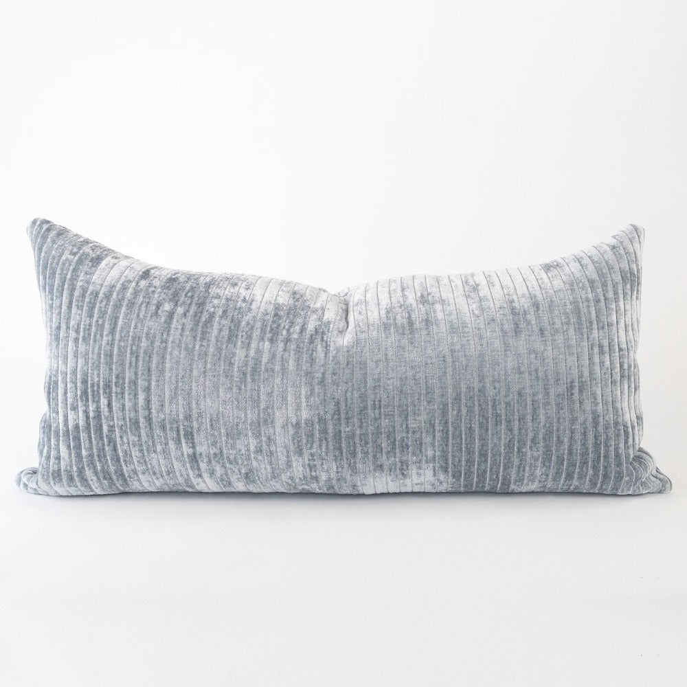 Iona Channel Velvet, Blue Smoke, a blue grey vertical stripe plush pillow from Tonic Living