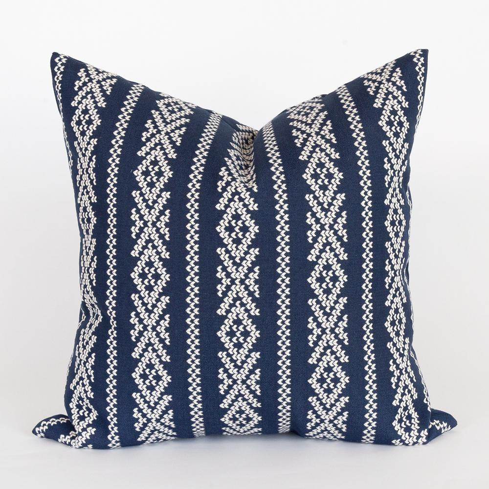Kira blue and white cross stitch pillow from Tonic Living