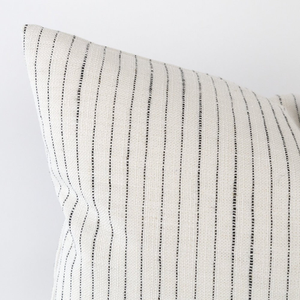 Lennon Stripe Lumbar Pillow, Domino, a white with black stripe high performance pillow from Tonic Living