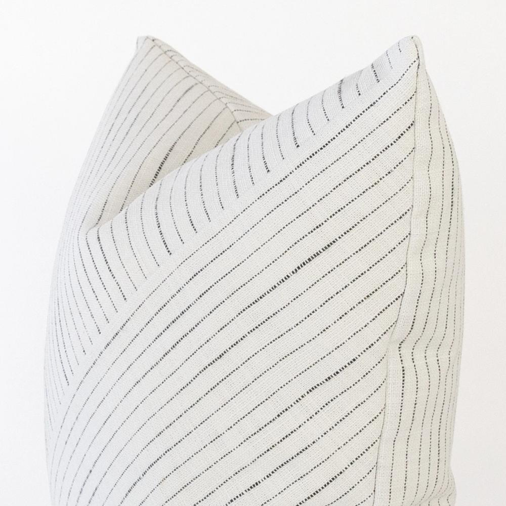 Lennon Fabric, Domino, a white with black stripe, diagonal stripe pillow from Tonic Living