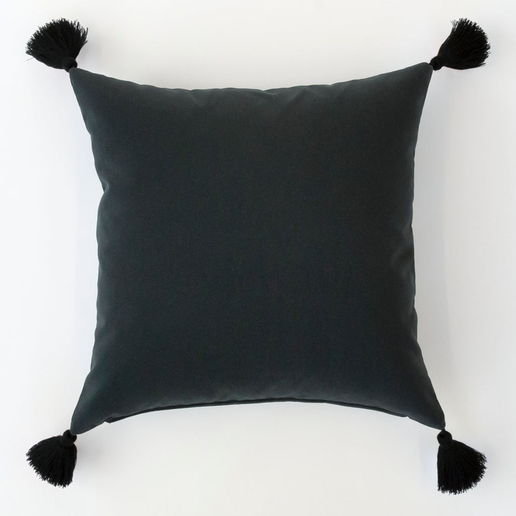 Lilith Pillow, black velvet with black tassels