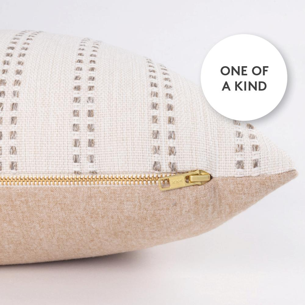 Linnet, a neutral stripe and beige felt one of a kind lumbar pillow from Tonic Living